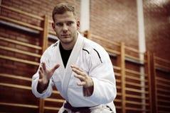 Judo de pratique de mâle dans le kimono regarder l'appareil-photo photographie stock