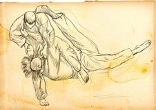 Judo - een hoogtepunt - met maat hand getrokken illustratie Stock Afbeelding