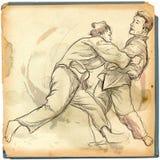 Judo - een hoogtepunt - met maat hand getrokken illustratie Stock Afbeeldingen
