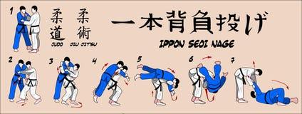 Judo ein Armschulter Throw Stockfoto