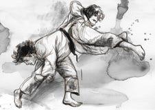 Judo - eine lebensgroße Hand gezeichnete Illustration Lizenzfreie Stockfotos