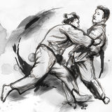 Judo - eine lebensgroße Hand gezeichnete Illustration Stockbild
