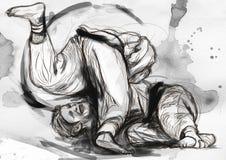 Judo - eine lebensgroße Hand gezeichnete Illustration Stockfoto