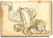 Judo - eine lebensgroße Hand gezeichnete Illustration Stockfotos