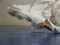 Judo fall. Young and sporty man doing a judo fall, the particular keyword of this series is aiki2 stock image