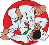 Judo fight. Two judo fighters in a battle Stock Photo