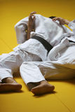 Judo fight. Ers wrestling for supremacy - some grain visible Royalty Free Stock Images
