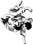 Judo fight. All elements layered black line drained Stock Image