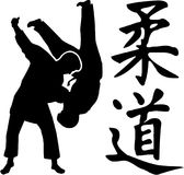 Judo fight with judo japanese signs. Vector Royalty Free Stock Images