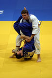 Judo fighters. Unknown judo fighters pictured in action during European Judo Championships for Individual Juniors held in Bucharest stock photo