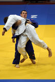 Judo fighters. Unknown judo fighters pictured in action during European Judo Championships for Individual Juniors held in Bucharest stock photos