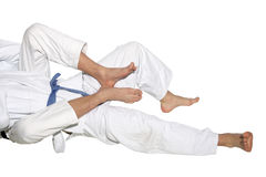 Judo fighters wrestling for supremacy Royalty Free Stock Images
