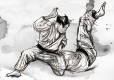 Judo - an full sized hand drawn illustration. An full sized hand drawn illustration (original) from series Martial Arts: Judo. Judo  is a modern martial art and Stock Image