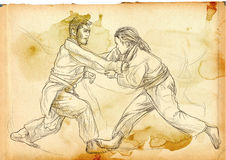 Judo - an full sized hand drawn illustration Stock Image