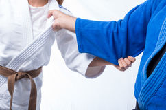 Judo Gripping between female judo brown belt and her sensei black belt isolated on white. Background Royalty Free Stock Photos