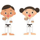 Judo, karate, child. The strong child who learns the martial arts Royalty Free Stock Photography