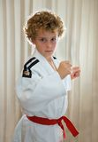 Judo Kid. Young boy (8) in judo outfit, backlit stock image