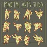Judo poserar kampsportsporten royaltyfri illustrationer