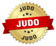 Judo round gold badge. Judo round isolated gold badge Stock Image