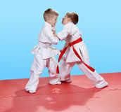 Judo sparring in perfoming young athletes. Judo sparring in perfoming athletes Royalty Free Stock Photography
