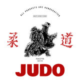Judo sport t-shirt graphic print vector Royalty Free Stock Photography