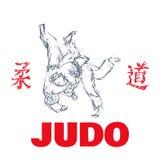 Judo sport t-shirt graphic print vector Royalty Free Stock Image