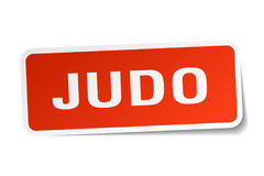 Judo sticker. Judo square sticker isolated on white background Stock Photo