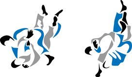 Judo. Stylized judo fight - three colour illustration Royalty Free Stock Photos