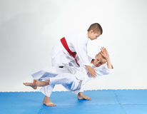 Judo Throws in perfoming by two athletes. Throws in perfoming by two athletes Stock Images