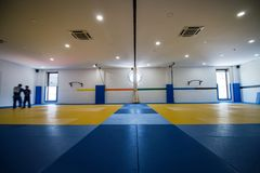 Judo training hall. Wide view of a Judo training hall royalty free stock photography