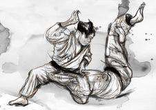 Judo - une illustration tirée par la main normale Image stock