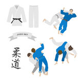 Judo vector set. Kimono and throws. Characters of the word judo vector illustration