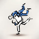 Judo vector symbol. One wrestler throw another Royalty Free Stock Image