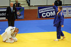 Judo - victory celebration. Philipp Galandi (In blue) from Germany celebrating his victory over Anton Savytskiy (In white) from Ukraine during European Judo stock image