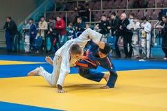 Judocompetities onder jongens Stock Afbeeldingen