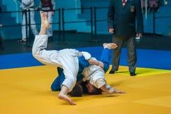 Judocompetities onder jongens Royalty-vrije Stock Afbeeldingen