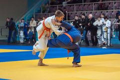 Judocompetities onder jongens Stock Fotografie