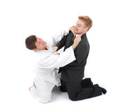 Judoist contra hombre de negocios Fotos de archivo libres de regalías