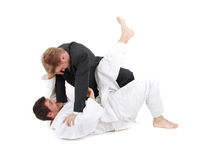 Judoist vs businessman Royalty Free Stock Photos