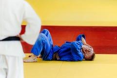 Judoka бойца поражения Стоковая Фотография RF