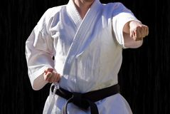 Judoka, centure black Stock Photo