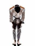 Judoka fighter man silhouette saluting Stock Photography