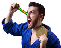 Judoka fighter man - Sports themes Royalty Free Stock Image