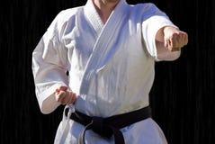 Judoka, negro del centure Foto de archivo