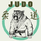 Judoka tiger dressed in kimono. Hand drawn style.Vector poster for judo-Japanese wrestling.Prints design for t-shirts vector illustration