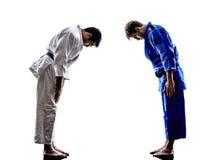 Judokas fighters fighting men silhouette Stock Photos