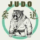 Judokatijger gekleed in kimono vector illustratie