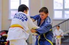 Judostridighet Fotografering för Bildbyråer
