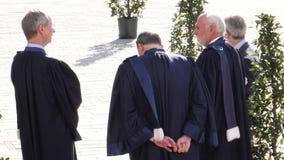 Jueces del ECHR que esperan a Emmanuel Macron French Presidente