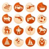 Juega etiquetas engomadas Foto de archivo libre de regalías